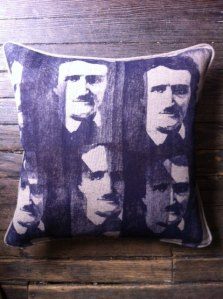 Edgar Allan Poe Pillow by Old Village Hall