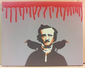 Edgar Allan Poe-Pop Art Spray Paint Canvas by Mr Slappy