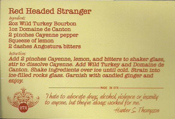 Red Headed Stranger Recipe Card