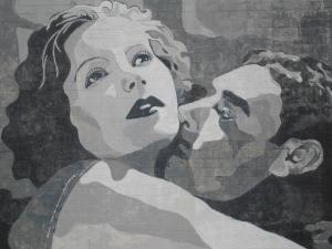 Garbo and Gilbert mural, close-up (Columbus, Ohio)
