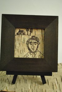 Henry David Thoreau Birch Bark Folk Art by Ghost Ship's Shanty Shop
