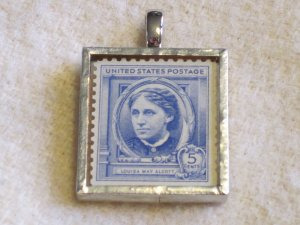 Postage Stamp Pendant-Louisa May Alcott by Bookshelves of Doom