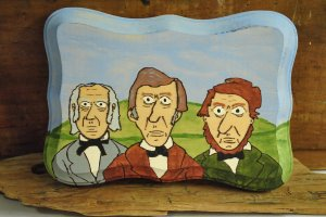 Thoreau, Emerson and Alcott Original Painting on Wood by Ghost Ship's Shanty Shop