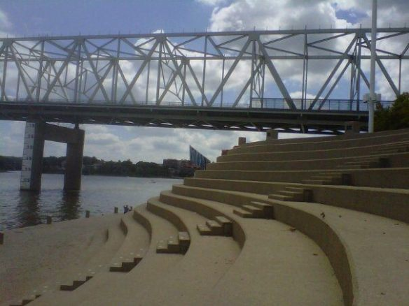 Riverfront Steps, Clouds Through the Bridge