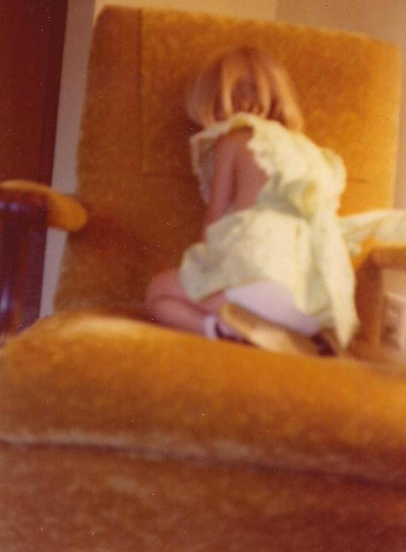 Communing with the chair in the late 1970s.