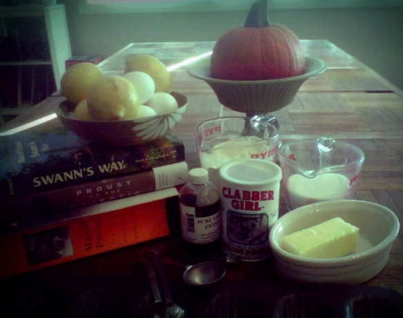 Ingredients (minus milk + a decorative pumpkin).
