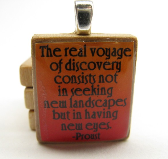 Proust Quote Scrabble Tile Pendant by Gratitude Jewelry
