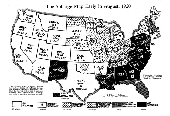 Us Suffrage Map 1920