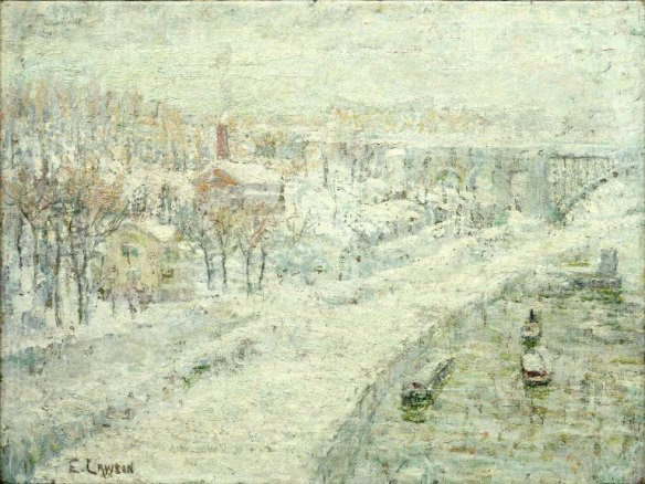 Winter Landscape: Washington Bridge, by Ernest Lawson. 1907-1910. Brooklyn Museum.
