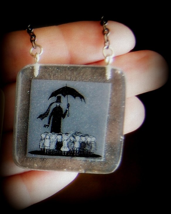 Edward Gorey Necklace by Dark White Arts