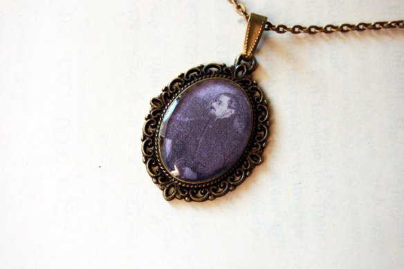 Handmade Vintage Cameo Pendant Necklace of James Joyce by Blings To Pay The Bills
