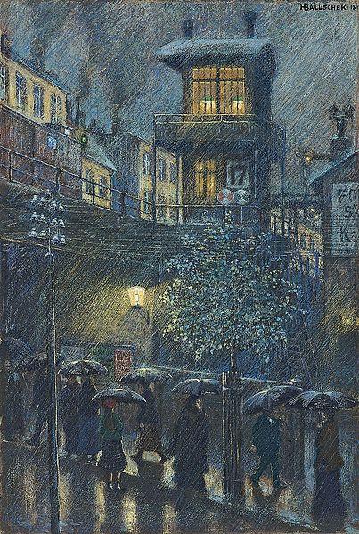 Rain by Hans Baluschek, 1917