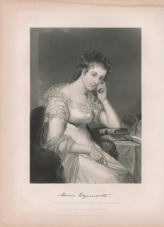 Maria Edgeworth Portrait Print Book Plate at vintage goodness