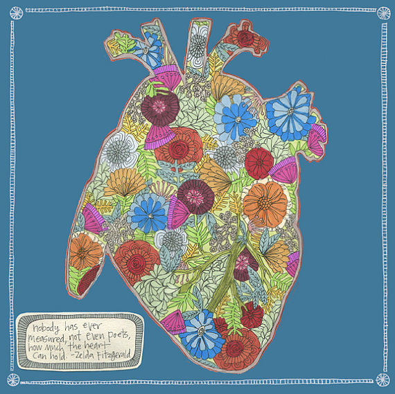 My heart is full of flowers print by swallowfield