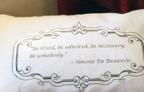 Simone de Beauvoir quote throw pillow by Wednesday's Child Is