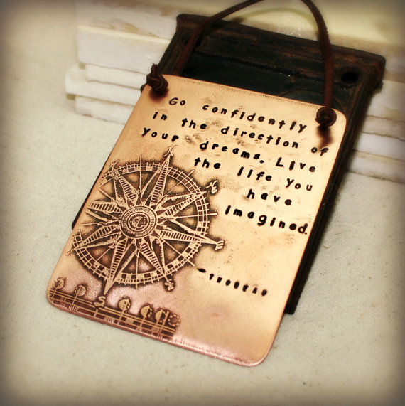 Copper plaque with Thoreau quote by Hardwear Designs