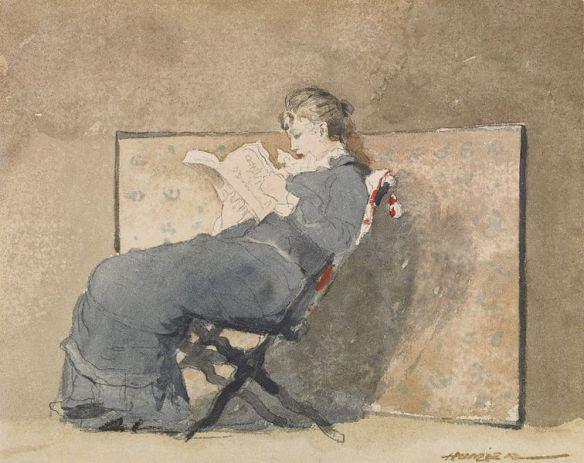 Girl Reading by Winslow Homer, circa 1879