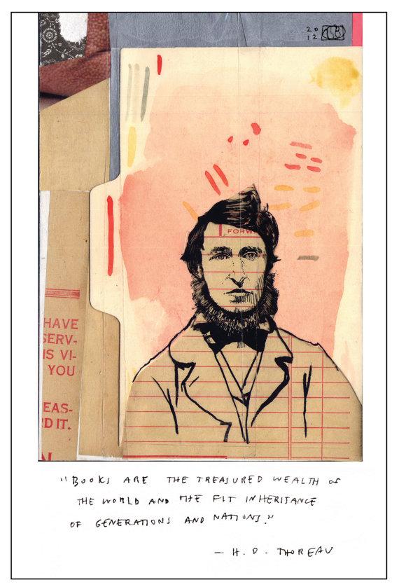 Thoreau postcard by simkinberkeshop