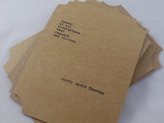 Thoreau quote card collection by Poetic Madness