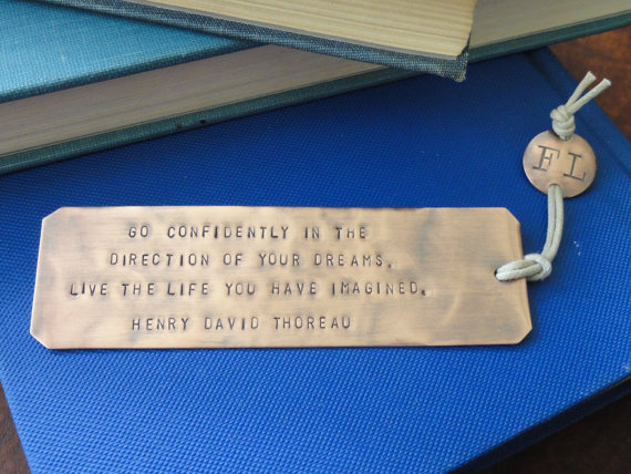 Thoreau quote copper bookmark by type to treasure