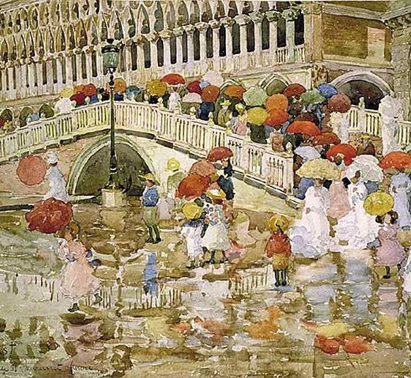 Umbrellas in the Rain, 1899, Maurice Prendergast