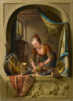 A young woman cleaning pans at a draped stone arch by Willem Joseph Laquy, 18th century