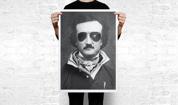 Edgar Allan Poe Hipster (sunglasses)  Art Print Poster by Cool Poster