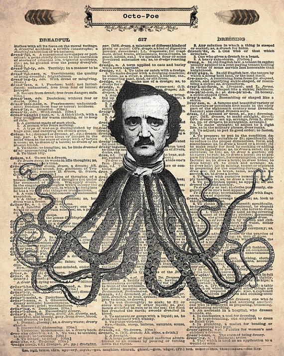 Octopoe Edgar Allan Poe Antique Dictionary Art Print by Fox Hunter Studios