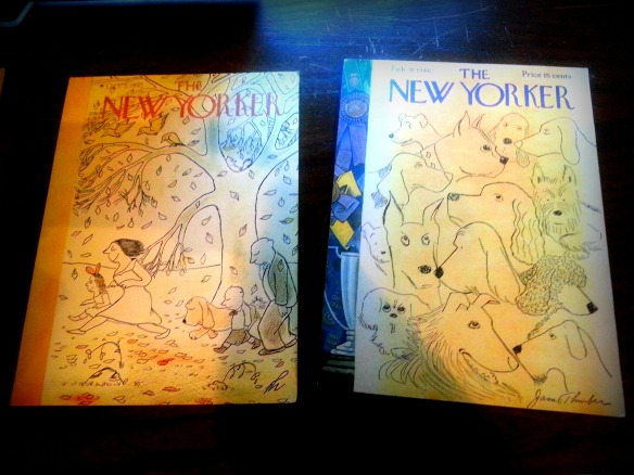 Two of James Thurber's many The New Yorker Covers.