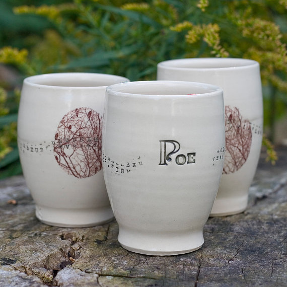 White Edgar Allan Poe Spirit Cup by Bunny Safari Pottery