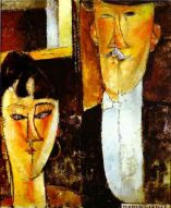 Bride and Groom by Amedeo Modigliani, 1915-1916