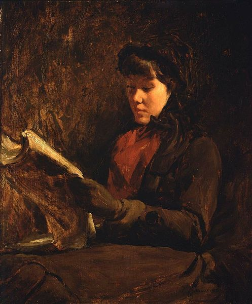 A Girl Reading by Frank Duveneck, 1870