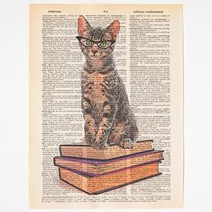 Dictionary Cat Print