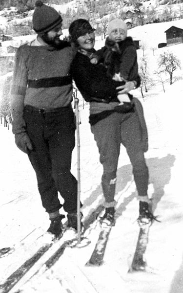 Ernest, Hadley, and Jack Hemingway in Schruns, Austria. 1925