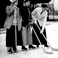 Women playing hockey outside of Varsity Arena, Toronto, 1910