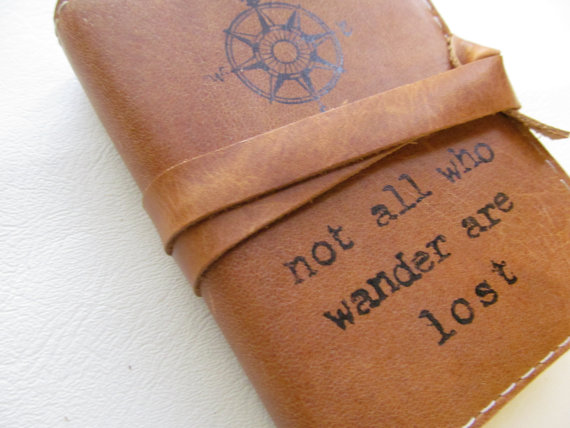 Small Leather Journal Sketchbook Not all who wander are lost by in blue