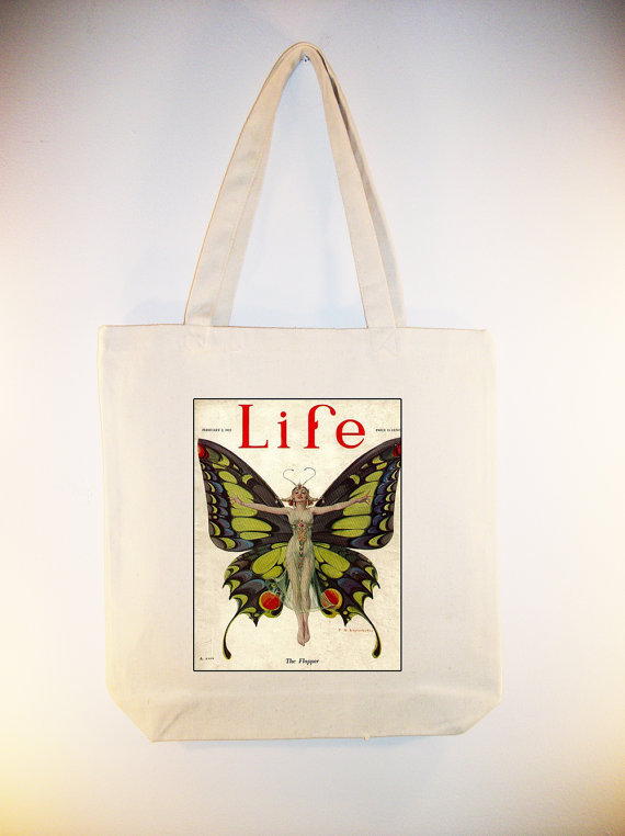 1922 Life Magazine Cover, The Flapper, Tote Bag by Whimsy Bags