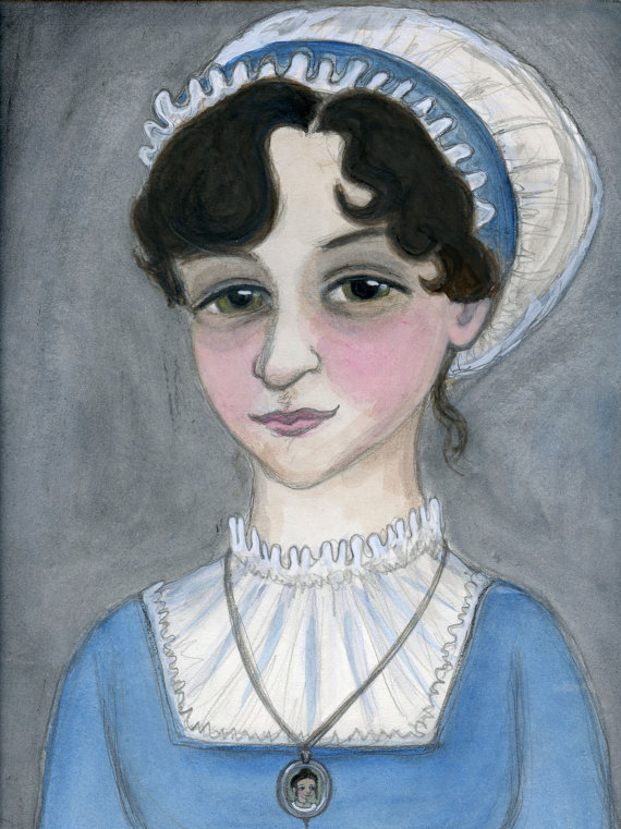 Jane Austen Watercolor Portrait by Bluehour Studio