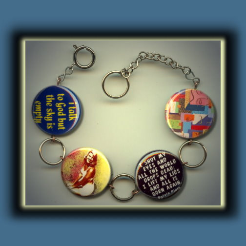 Sylvia Plath Altered Art Charm Bracelet by Yesware