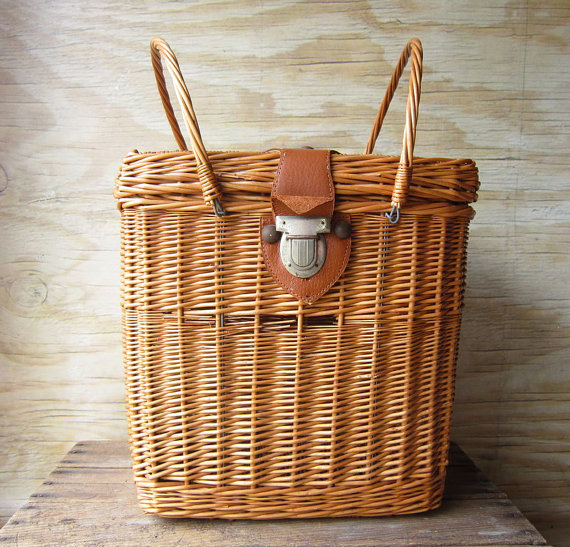 Vintage Picnic Basket at What's New on the Mantel