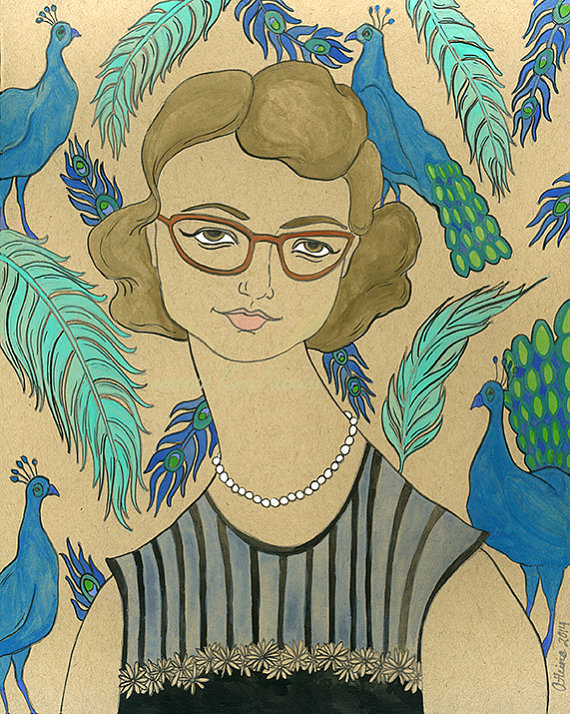 Flannery O'Connor 8x10 Print by Amanda Atkins