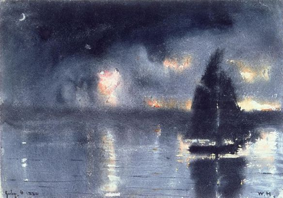 Sailboat and Fourth of July Fireworks by Winslow Homer, 1880
