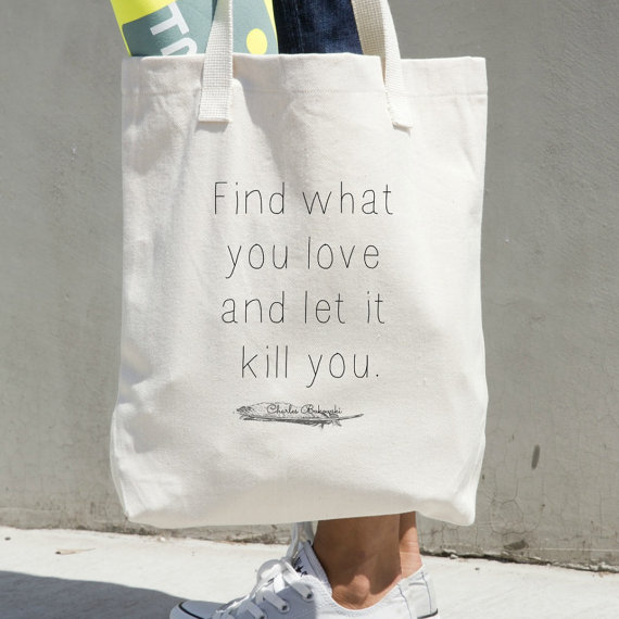 Bukowski Tote Bag by NeverMore Prints