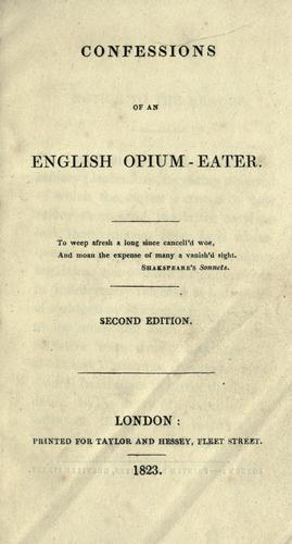 Cover of the Second Edition of Confessions of an English Opium Eater, 1823