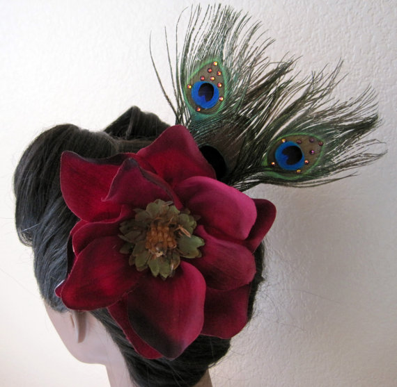 Burgundy and Peacock Feather Fascinator by A Vintage Revival