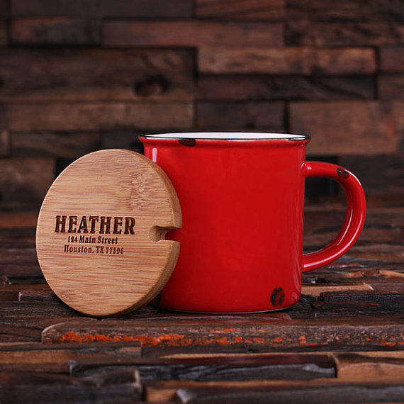 Personalized Red Enamel Mug by Teals Prairie & Co.