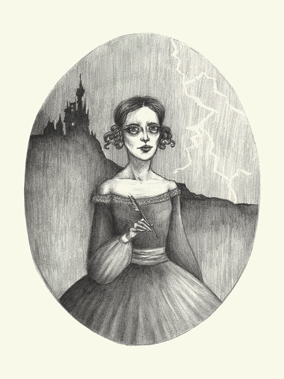 Mary Shelley Print by Caitlin McCarthy Art and Illustration