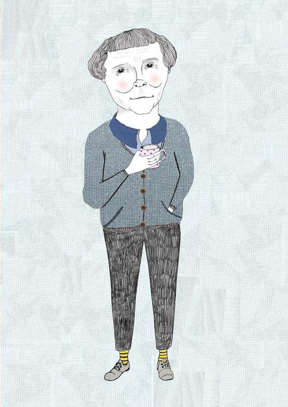 Astrid Lindgren Portrait Illustration by Dani's Drawings