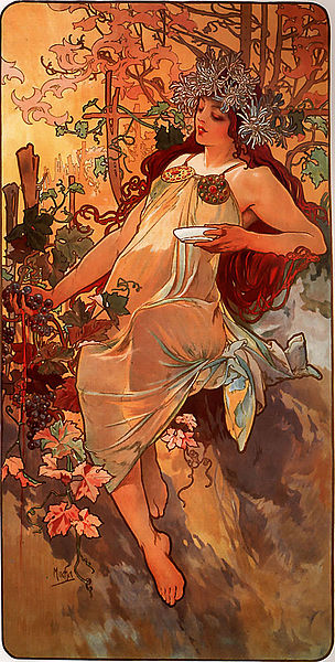 Autumn  by Alfons Mucha, 1886