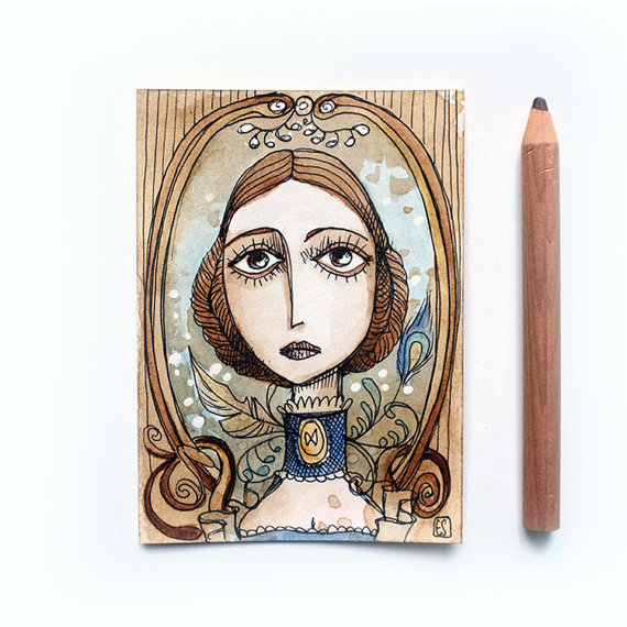 Madame Bovary Original ACEO by Mrs Peggotty Arts